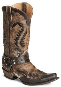 Stetson Brown Harness Cowboy Boots - Snip Toe available at #Sheplers