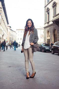 black/white striped blazer + neutrals