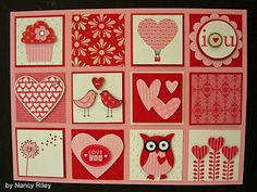 valentine card ... inchies with punch art and patterned paper ... luv it!! ... Stampin' Up!