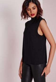 Missguided - Turtle Neck Scoop Armhole Top Black