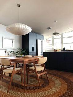 Dining Room — Post and Beam Living Teak Dining Chairs, Dining Room, Eames Chairs, Side Chairs, Dining Area, Nelson Bubble Lamp, Teak Sideboard, Oak Hardwood Flooring, Mid Century Dining
