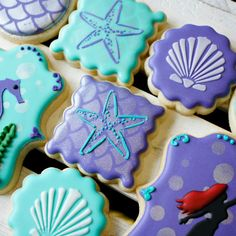 Elegant Purple & Aqua Mermaid Under The Sea Birthday Party Sugar Cookies