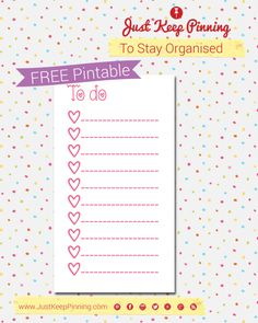 Filofax Friday FREE printable cute girly to do list by justkeeppinning.com