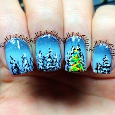 Winter wonderland nails by Dalene D. Holiday Nail Art, Christmas Nail Designs, Christmas Nail Art, Fingernail Designs, Nail Polish Designs, Halo Nails, Funky Nail Designs, New Years Eve Nails, Les Nails