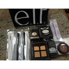 "All Brand New Elf Bundle Gift Bag! All products are BRAND NEW - unopened and in original packaging. Includes : Concealer Brush ** Elf Studio Eyeshadow ""C"" Brush ** Elf Studio Concealer Brush ** Baked Eyeshadow in 'Moonlight Serenade' ** HD Mattifying Balm ** Foundation Palette in 'Fair/Light'  **Long-lasting Lustrous Eyeshadow in 'Celebration' ** Waterproof Eyeliner Pen ** Pressed Mineral Bronzer in 'Caramel Cabana'. Comes with Elf throw bag! ELF Makeup"