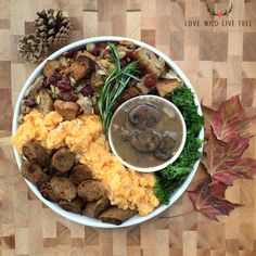 """Make this dish for your Vegan Thanksgiving feast:garlicky mashed potatoes, """"meat lover's""""mushroom gravy,Smoked Apple Sage vegetarian grain meat sausages fromField Roast,homemade stuffing and pan-fried kale (fresh from my organic home garden).This cruelty-free holiday meal has no shortage of festive flavour. Photo by: Love Wild Live Free."""