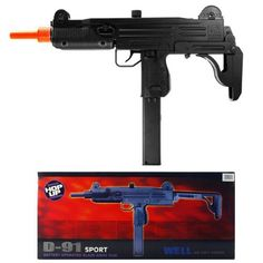 "WELLS D-91 ELECTRIC AIRSOFT FULL AUTOMATIC FIRING MODE MACHINE GUN UZI FPS 150 SIZE 25"" WITH HOP UP MORE ACCURATE SHOOTING VERSION by wells. $20.48. Description    Features: Gun holds 50 BB's  Full automatic firing mode  Fixed hop up for more accurate firing  Includes 20-pc. 6mm BB's, 7.2v Ni-cd batter w/DC charger, shoulder strap, and adjustable stock  Length: 25"" Shoots at 150 FPS with .12g BB's"