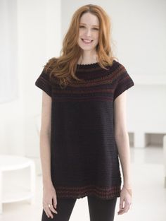Sabrina Tunic using Lion Brand Vanna's Glamour yarn.  It is sport weight #2 or fine yarn.