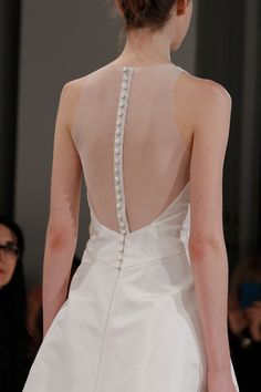"All about that back I ""Cory"" Amsale Fall 2015 - Halter neck silk faille A-line gown with sheer back."