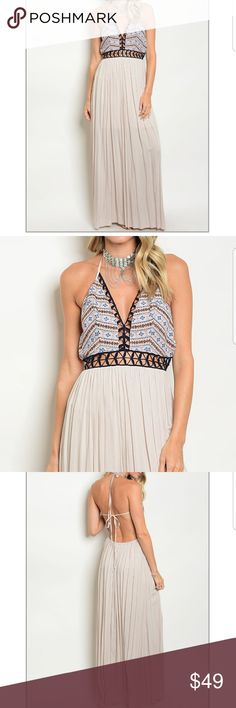🌟LIGHT GRAY DRESS Boutique items  ***Just offer with bundles   Fabric content : 100% Rayon  V-neck halter top dress with a sheer line skirt. Dresses