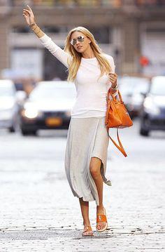 grey maxi skirt / white T / cognac shoes and accessories / outfit