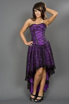 dc4a7a5b0 Gothic Victorian Steampunk Vintage Wedding Purple Party Burlesque Corset  Dress Gothic Corset Dresses