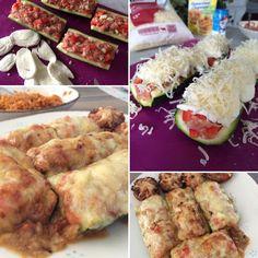 Gevulde courgette met gehakt met paprika en ui, afgewerkt met een dekentje van mozzarella en emmentaler!