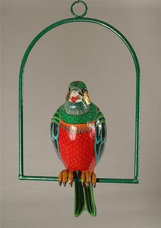 Editioned Hanging Parrot Sculpture Sergio Bustamante | From a unique collection of antique and modern animal sculptures at https://www.1stdibs.com/furniture/more-furniture-collectibles/animal-sculptures/
