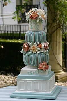Weddbook is a content discovery engine mostly specialized on wedding concept. You can collect images, videos or articles you discovered organize them, add your own ideas to your collections and share with other people - Floral column cake Elegant Wedding Cakes, Beautiful Wedding Cakes, Gorgeous Cakes, Pretty Cakes, Amazing Cakes, Unique Cakes, Creative Cakes, Cupcakes, Cupcake Cakes