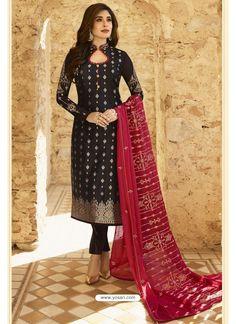 Black Jacquard Zari Embroidered Straight Suit