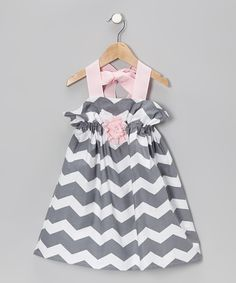 Gray & White Zigzag Penelope Petal Halter Dress - Toddler & Girls | Daily deals for moms, babies and kids