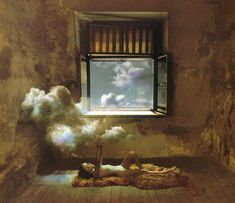 Jan Saudek - A Little Golden Cloud Spent The Night On The Bosom Of A Giant Cliff (Lermontov), 1985.
