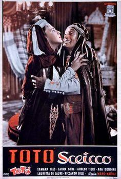 "Lauretta De Lauri and Totò (Antonio De Curtis) - Poster for Mario Mattoli's ""Totò sceicco"" (Italian title: ""Totò sheik"", 1950)."