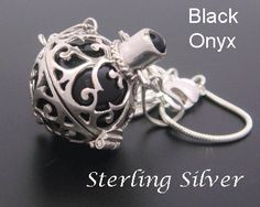 925 Sterling Silver Harmony Ball with Onyx Gemstone - SIMPLY STUNNING!! - Available at www.HarmonyBallPendant.com or www.HarmonyBall.net.au and www.etsy.com/shop/HarmonyBalls #harmonyball #bolanecklace #angelcaller #babyshowergiftideas #pregnancygift #momtobe #necklace #jewelry #pendant #firstpregnancygifts #giftsforpregnancy