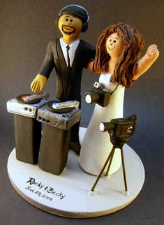 DJ Wedding Cake Topper, Disc Jockey Wedding Cake Topper, DJ Wedding Anniversary Gift, Disc Jockey Wedding Anniversary Gift. Latin DJ Wedding Figurine.    Customized  Mixed Race wedding cake toppers, these were commissioned for Interracial marriages and wedding ceremonies.... be inspired by these examples and let us know what details would make the most memorable mixed race - interracial wedding keepsake for you and yours!...     The perfect personalized wedding cake topper for the marriage…