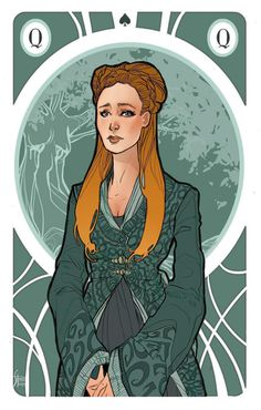 Queen Sansa Stark Illustration for my personal version of Game of Thrones' cards