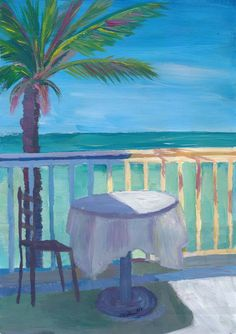 """Saatchi Art is pleased to offer the painting, """"Seaview Cafe Table at the Caribbean With Palm - Dreamaway to Hideaway,"""" by M Bleichner, available for purchase at $1.709 USD. Original Painting: Acrylic on Canvas. Size is 31.5 H x 23.6 W x 1.6 in. Barbados, Cool Artwork, Canvas Artwork, Original Paintings For Sale, Original Artwork, Church Of Our Lady, Retro Poster, Caribbean Art, Watercolor Sunset"""