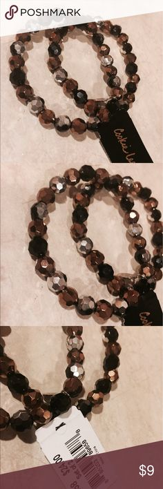 NWT Cookie Lee set 2 black gold faceted bracelets Never used, gorgeous Cookie Lee Jewelry Bracelets