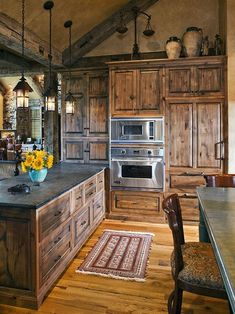 35 Best Rustic Farmhouse Kitchen Cabinets Ideas – Decorating Ideas - Home Decor Ideas and Tips - Page 6 Rustic Kitchen Design, Farmhouse Kitchen Cabinets, Kitchen Designs, Rustic Cabinets, Dark Cabinets, Cupboards, Rustic House Design, Stained Kitchen Cabinets, Rustic Kitchen Lighting