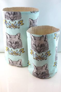 Set of 2 Foxes in Folliage Fabric Storage Totes by livefreebaby