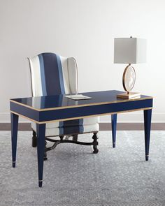 Barclay Butera Liam Writing Desk at Neiman Marcus Office Table, Home Office Desks, Home Office Furniture, Office Decor, Blue Furniture, Wood Furniture, Furniture Stores, Luxury Furniture, Furniture Design
