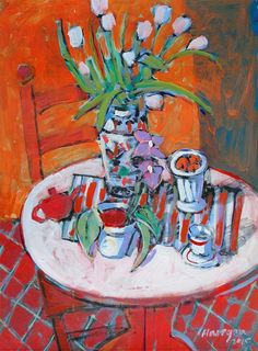 """Still Life with Orange Wall"" 24x18 Tulip Painting by Jim Flanagan at NUMA Gallery"