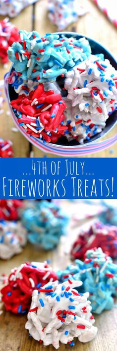 These Red, White & Blue Fireworks Treats are a little bit salty, a little bit sweet, and a whole lot of fun for of July! (holiday foods of july) 4th Of July Desserts, Fourth Of July Food, 4th Of July Celebration, 4th Of July Party, Holiday Desserts, Holiday Treats, July 4th, Holiday Recipes, Patriotic Party
