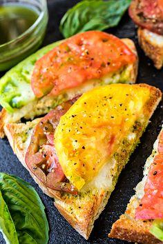 Mozzarella Garlic Toast with Fresh Tomato and Basil-Lemon Oil