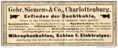 Original-Werbung/ Anzeige 1906:  DOCHTKOHLE / MIKROPHONKOHLEN / GEBRÜDER SIEMENS CHARLOTTENBURG - ca. 100 x 40 mm