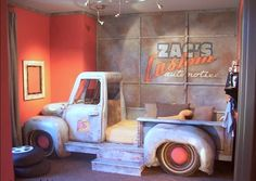 Wow this must have been a lot of work but I love the vintage truck / bed for a boy's room