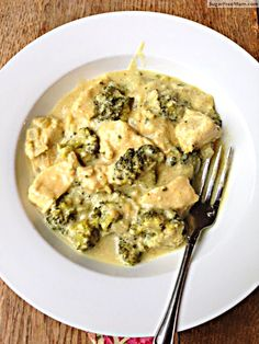 Coconut curry chicken with broccoli and brown rice. Recipe from Sugar Free Mom.
