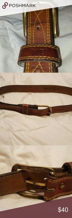 """Frye Leather Campus Stitch Belt sz 33 33"""" long size 30 Frye Leather Belt  Timeless style with a western touch. The distinctive stitching of our iconic Campus collection gives this handcrafted smooth pull-up Italian leather belt with sleek buckle a truly all-American look. Frye Accessories Belts"""