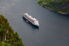 Cruise ship in the fjord by terjthor