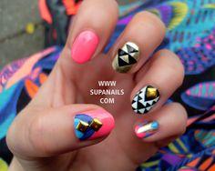 12 Multi Color Geometric Nails. €30.00, via Etsy.