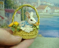 Miniature Bunny Rabbit in Rose Basket by Morena Ciambra - Dreamartdolls