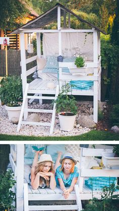 She Sheds to Fuel Your Daydreams Make an adorable garden playhouse or she shed in your backyard with this easy outdoor DIY project.Make an adorable garden playhouse or she shed in your backyard with this easy outdoor DIY project. Backyard Playhouse, Build A Playhouse, Backyard Playground, Backyard Fort, Outdoor Playhouses, Diy Easy Playhouse, Backyard Cabana, Playhouse Interior, Outside Playhouse