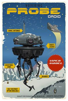 I am so bummed I missed out on Steve Thomas's Star Wars Vintage travel art, but these are new and pretty cool.  $89.00 Probe Droid - by Steve Thomasgiclee on paper