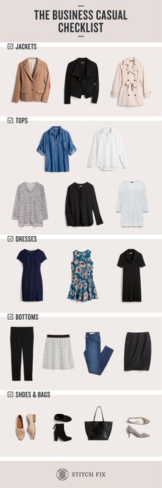 The Business Casual Wardrobe Checklist Stitch Fix Style The post The Business Casual Wardrobe Checklist appeared first on Woman Casual - Woman Fashion Business Casual Shoes, Business Outfits, Office Outfits, Business Formal, Business Tips, Business Travel, Work Outfits, Trendy Outfits, Professional Attire
