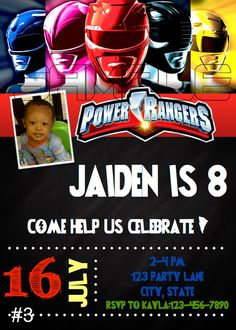 Power Rangers Birthday Invitation DIGITAL FILE By MunchDoodles