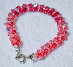 Beaded bracelet - Swarovski crystal bracelet - Pink bracelet - pinned by pin4etsy.com