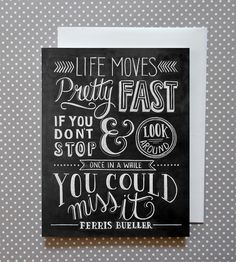 Life Moves Fast Chalkboard Art Cards