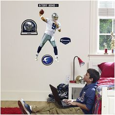 Awesome Tony Romo Fatheads Jr at http://sportsdecorating.com.  Half the size, but half the price, so you can do more decorating! $49.99