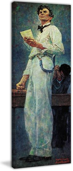 Marmont Hill Lincoln for the Defense Norman Rockwell Painting Print on Canvas 45 x 15 Home Decor Wall Decor Canvas Art