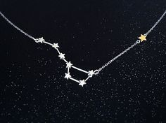 The North Star is found by following the front edge of the Big Dipper. This necklace features seven sterling silver stars in the shape of the Big